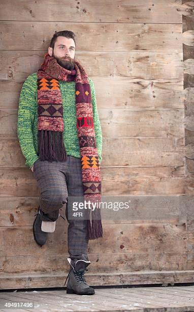 Homem moda, estilo de vida de homem com barba e Cachecol