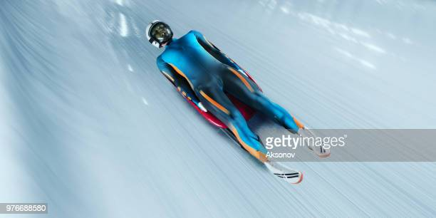 Male Luge athlete in professional Luge Track