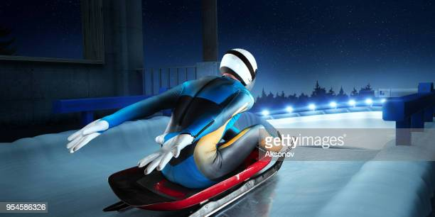male luge athlete in start line - luge stock pictures, royalty-free photos & images