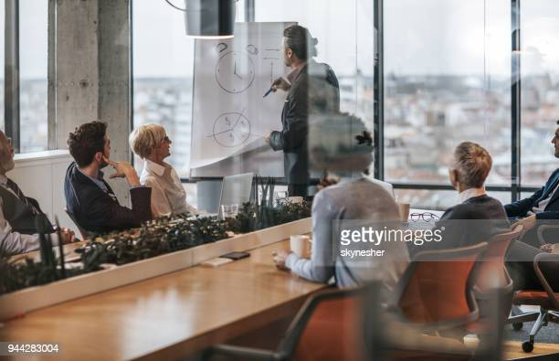 male manager giving a business presentation to his team in the office. - time management stock photos and pictures