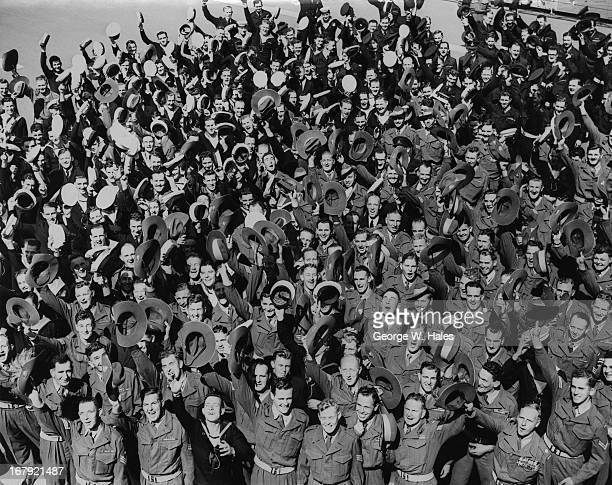 238 Male members of the Australian Services' Coronation Contingent arrive at Portsmouth aboard the Australian aircraft carrier 'Sydney' 5th May 1953...