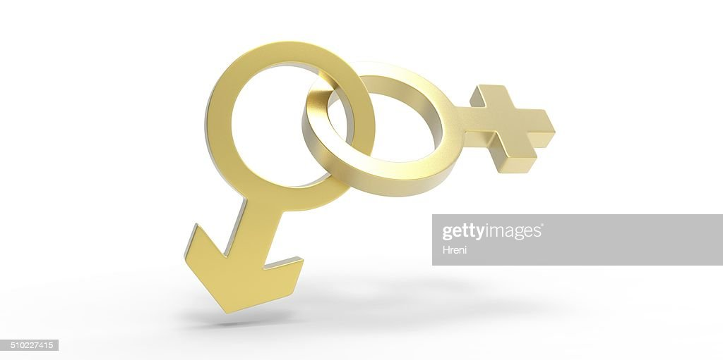 3d Male Men And Female Woman Heart Shaped Sex Symbols Stock Photo