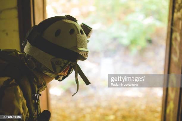 Male military swat team member