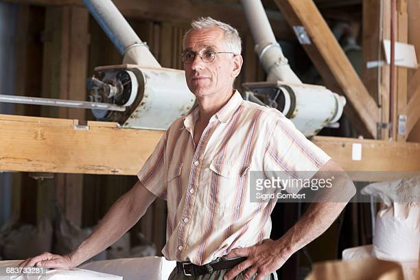 male miller standing by machine in wheat mill - sigrid gombert stock pictures, royalty-free photos & images