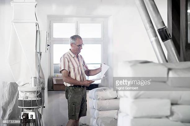 male miller stock taking sacks of flour at wheat mill - sigrid gombert fotografías e imágenes de stock