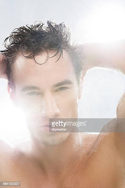 Male model after shower.
