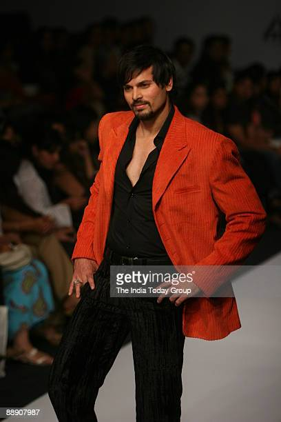 A male model displays a creation by designer Manav Gangwani during the Wills India Fashion Week in New Delhi India March 17 2007