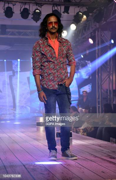 A male model seen showcasing the new brand during the launch Mufti a clothing brand launches a new Autumn Winter'18 collection at ITC Maratha hotel...