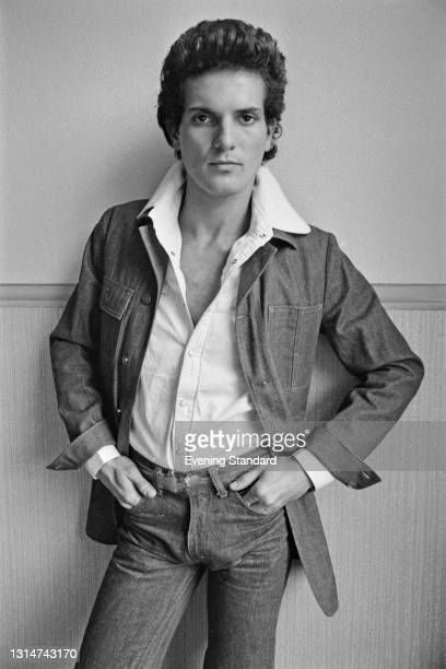 Male model wearing a light jacket over a buttoned shirt, UK, 12th June 1974.