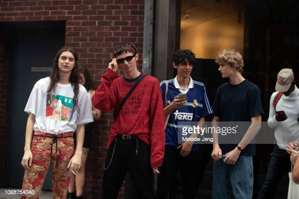 Male models Dylan Christensen Willow Barrett Benjamin Lessore Joshua Bering after the Monse show during New York Fashion Week Spring/Summer 2019 on...
