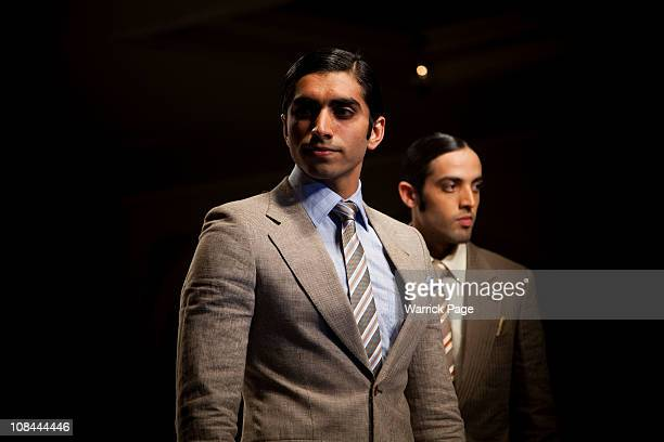 Male models showcase the designs of Ammar Belal at the Islamabad Fashion Week on 27 January in Islamabad Pakistan Renowned Pakistani fashion...