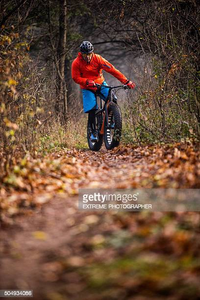Male mountain bike rider outdoors