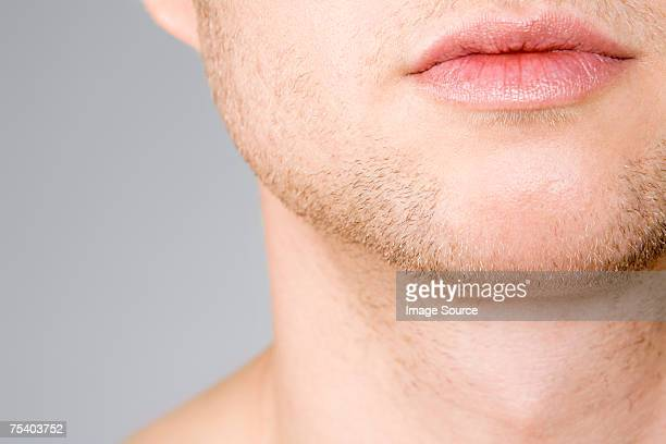 Male mouth chin and neck