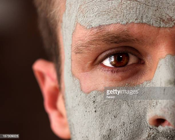 male mud mask - pores stock photos and pictures
