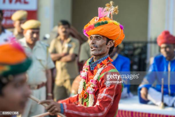 Male musican at the Gangaur Festival in Jaipur, Rajasthan, India