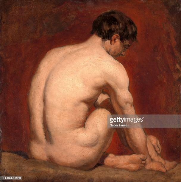 Male Nude, Kneeling, from the Back, Attributed to William Etty, 1787-1849, British