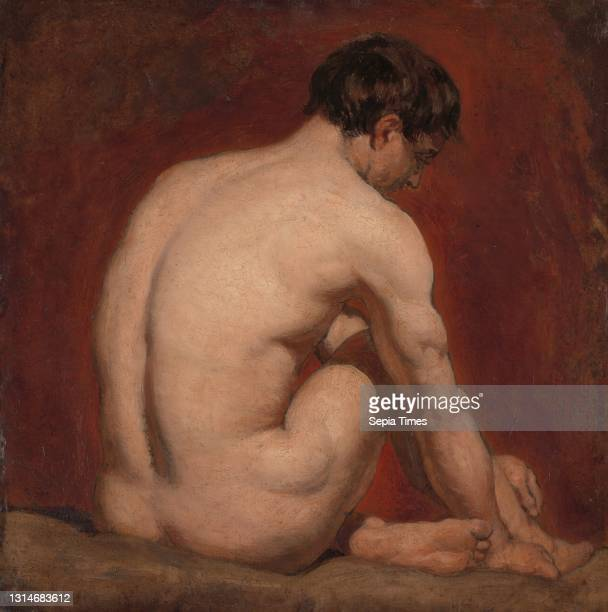 Male Nude, Kneeling, from the Back, Attributed to William Etty, 1787–1849, British, ca. 1840, Oil on board, Support : 16 1/2 x 17 inches , arm, back,...