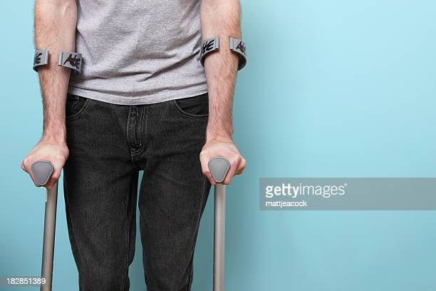 Male on crutches