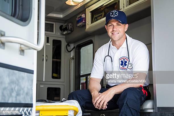Male paramedic in ambulance