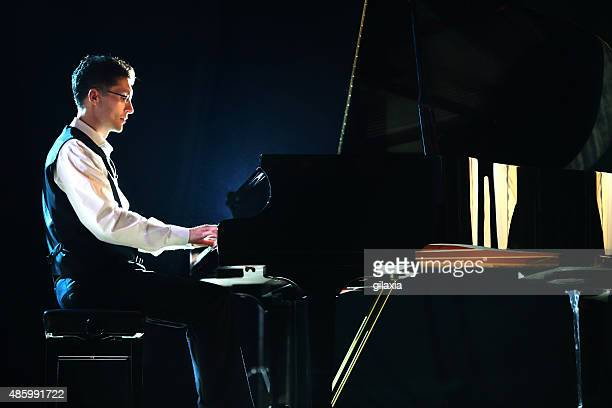 Male pianist in a concert.