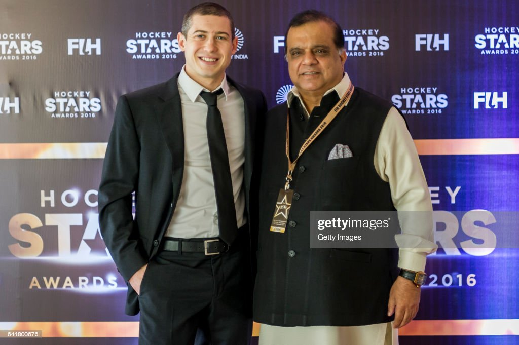 Male Player of the Year JohnJohn Dohmen [L] of Belgium and Dr Narinder Dhruv Batra President of The International Hockey Federation [R] pose for a...