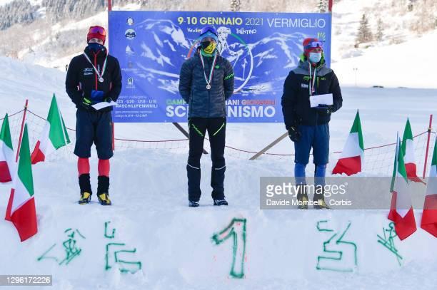 Male podium Giovanni Rossi, Andrea Prandi, Sebastien Guichardaz after the Italian Youth Ski Mountaineering Championships on January 10, 2021 in...