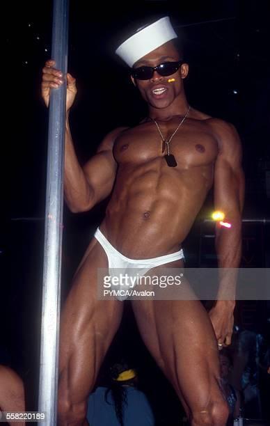 Male pole dancer in club UK 2000s