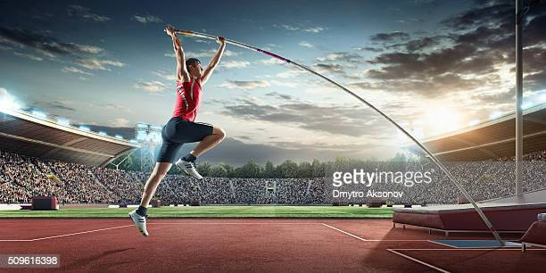 Male pole vaulting athlete