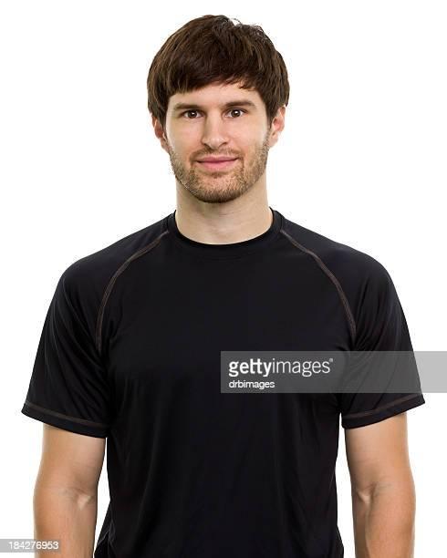 retrato masculino - t shirt preta imagens e fotografias de stock