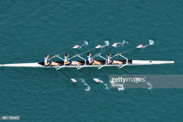 male quadruple scull rowing team at the race, lake bled, slovenia - squadra sportiva foto e immagini stock
