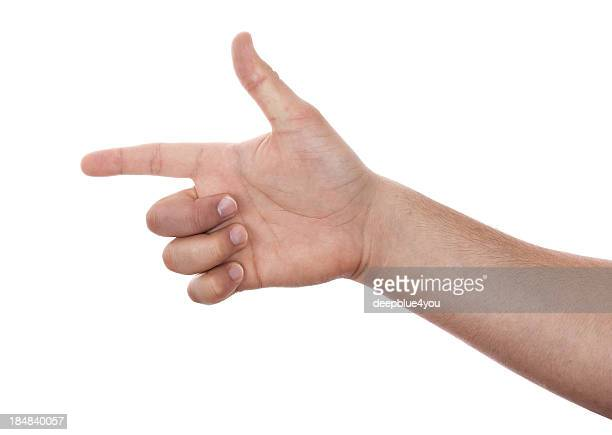 male right hand pistole gesture  on white - female hairy arms stock photos and pictures