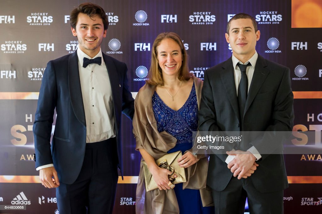 Male Rising Star of the Year Arthur Van Doren [L] of Belgium FIH Female Umpiring Award Laurine Delforge of Belgium [C] and FIH Male Player of the...