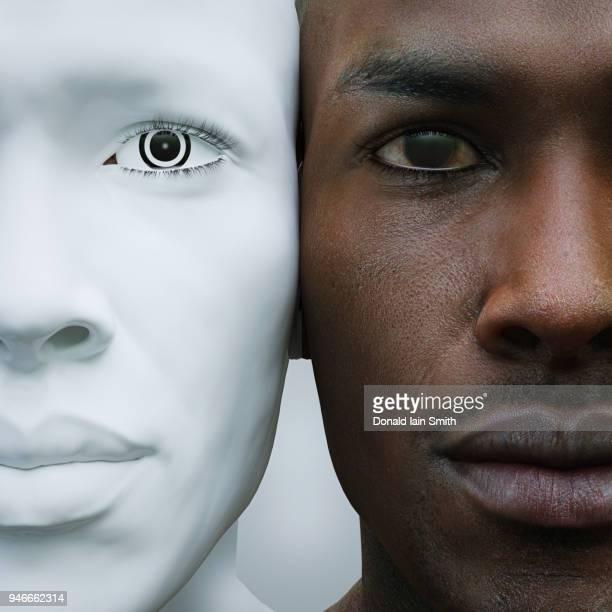 male robot and human heads side by side - daltonismo fotografías e imágenes de stock