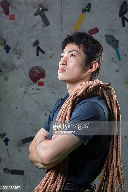 A male rock climber