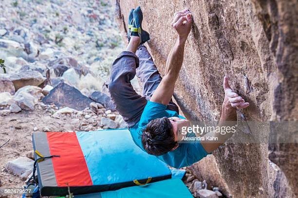 Male Rock Climber tries Hard Climb in Red Rock National Park