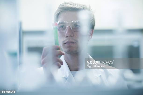 Male scientist scrutinizing test tube in lab