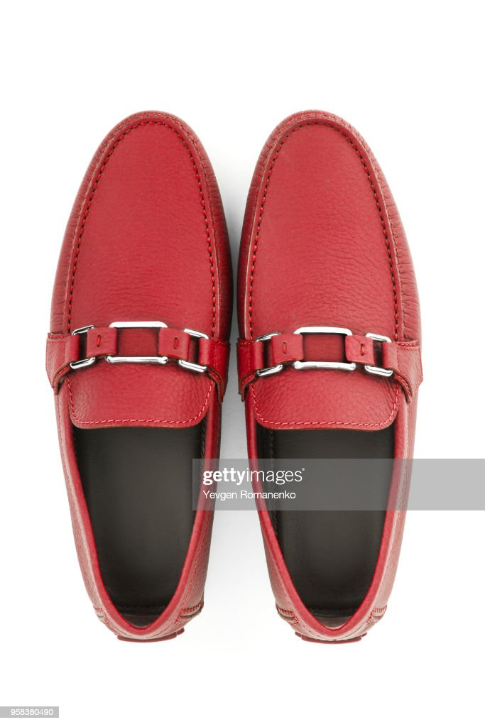 Male Shoes Isolated On White Background Pair Of Red Leather