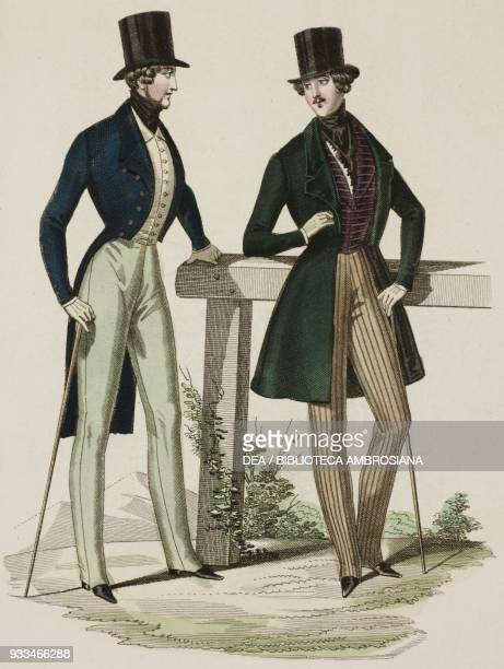 Male sketches in morning suit, with top hat and walking stick, plate 16 taken from Parisian Fashion, Il Corriere delle Dame , 20th March 1837.