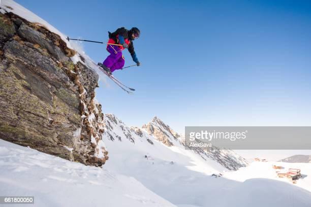 Male skier doing extreme tricks