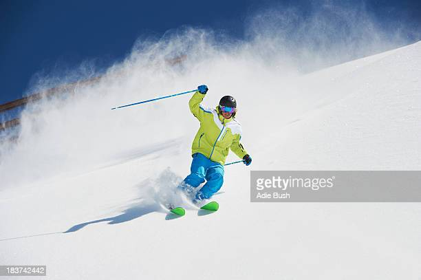 Male skier in action