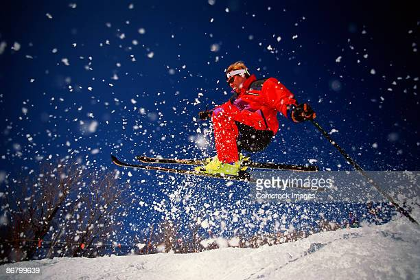 male skier skiing bumps - mont tremblant stock pictures, royalty-free photos & images