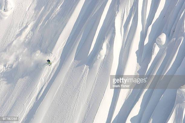 A male skier skis a huge new first descent in Haines, Alaska.