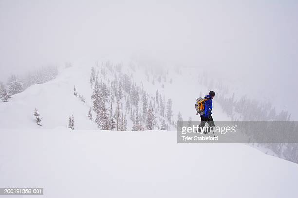 Male skier standing in snow during snowstorm, side view