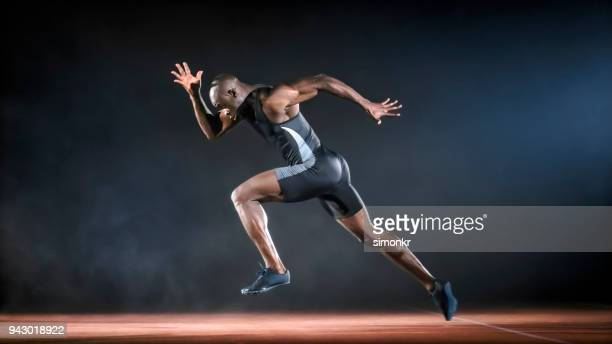 Male sprinter running