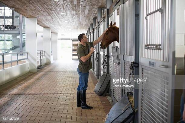 Male stablehand petting horse in stables