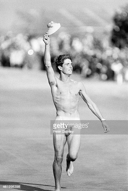 A male streaker on teh 18th green during the114th Open Championship played at Royal St Georges Golf Club on July 21 1985 in Sandwich England