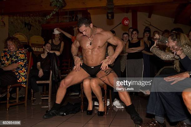 Male stripper lapdancing at a girls birthday party 8th March 2014 Lagrasse France