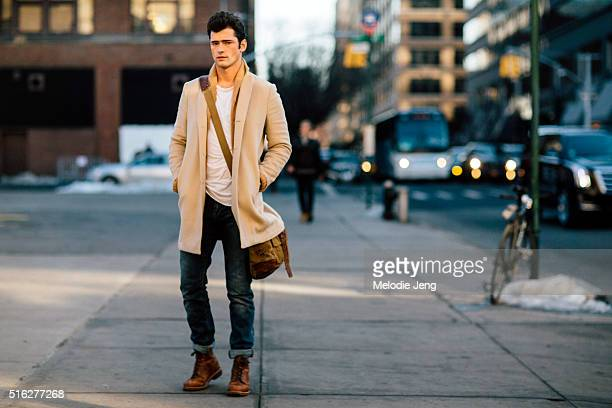 Male supermodel Sean O'Pry wears a tan peacoat at Skylight Clarkson Sq after the Joseph Abboud show during New York Fashion Week Men's Fall/Winter...