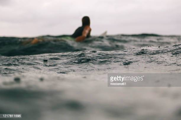 male surfer during rain time, sumbawa, indonesia - paddling stock pictures, royalty-free photos & images