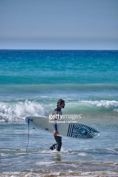 male surver walking in the water a the beach carrying a surfboard - finn bjurvoll - fotografias e filmes do acervo